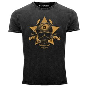 Neverless® Herren T-Shirt Totenkopf Vintage Tattoo Shirt Stay Wild Skull Print Used Look Slim Fit schwarz M