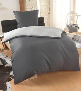 Dreamhome 2 teilig Dreamhome Uni fein Seersucker Wende Bettwäsche Bettbezug für Bettdecke  Kissenbezug 80x80, Farbe:SILBER-GRAU, Größe:155 x 220 cm