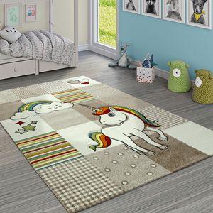 Kinderteppich Kinderzimmer Kariert Einhorn Regenbogen Beige Creme, Grösse:80x150 cm