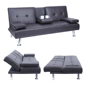 3er-Sofa HWC-F60, Couch Schlafsofa Gästebett, Tassenhalter verstellbar 97x166cm  Kunstleder, braun