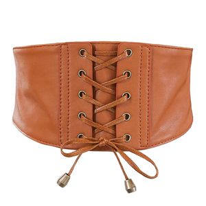 Damen Retro Leder Gürtel Korsett Taillengürtel Hüftgürtel Stretchgürtel breiter Gürtel Taille Hüftgurt Gefesselt Farbe Kamel