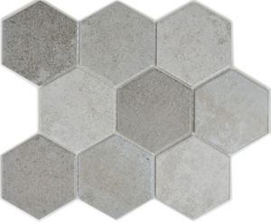 Mosaik Fliese Keramik grau Hexagon Zement Küche Fliese WC Badfliese MOS11F-0204_f | 10 Mosaikmatten