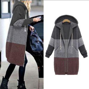 Damen Reißverschluss Open Hooded Fleece Sweatshirt Langer Mantel Jacke Tops Outwear Größe:L,Farbe:Schwarz