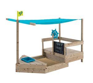 TP Toys Sandkasten Boot AHOY natur inkl. Zubehör Piratenschiff Sandspaß