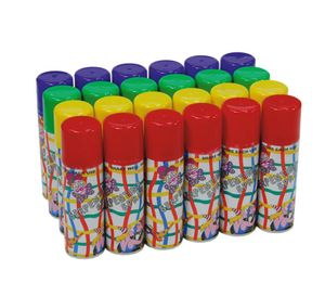 Luftschlangen Spray in verschiedenen Farben