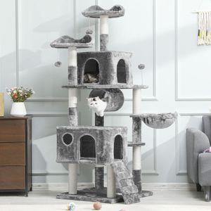 MSmask Kratzbaum für größe Katzen XXL Kratzbaum 175 cm Hoch Höhle und Liegeflächen Sisal-Stämme Spielplatz zum Kratzen(grau)