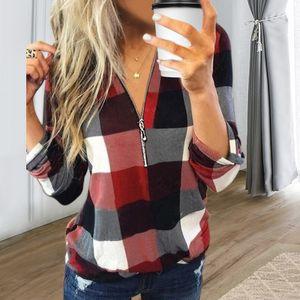 Damen Langarm V-Ausschnitt Top Zip Check Print Shirt,Farbe: rot,Größe:S