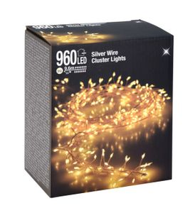 Silver Wire CLUSTER Lights - 960 LED / 9,6 m
