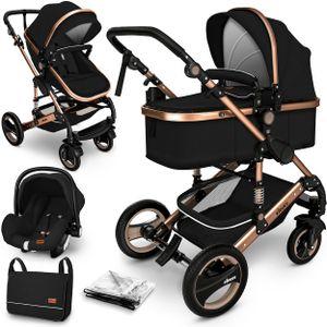 KIDUKU® 3 in 1 Kombi-Kinderwagen Schwarz/Gold Buggy Reisebuggy inkl. Auto- Babyschale Faltbar
