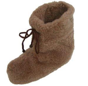 superwarme und weiche Herren Woll Hausschuhe hoch braun waschbar, 100% Wolle, rutschfeste Sohle