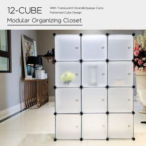 12 Kubus Kunststoff Kleiderschrank Garderobenschrank, Steckregal Kombischrank,Schrank Regalsystem mit 2 Kleiderstange - Weiß - PONCTUEL ESCARGOT