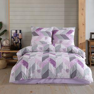 Bettwäsche 135x200 cm 4 teilig 100% Baumwolle  Renforce Reißverschluss 2 x Bettwäscheset und 2 x Kissenbezüge
