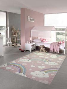 Kinderteppich Kinderzimmerteppich Regenbogen mit Wolken und Herzen in rosa Größe - 160x230 cm