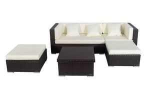 OUTFLEXX Loungemöbel-Set, braun, Polyrattan, 5 Personen, wasserfeste Kissenbox, inkl. Loungetisch
