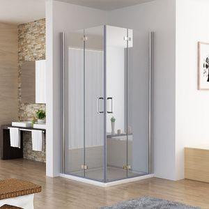 Duschkabine 90x75 Eckig Dusche Falttür 180º Duschwand Duschabtrennung NANO Glas 185cm DB+DB