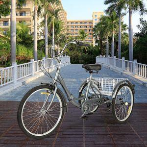 Zehnhase Dreirad Erwachsene 24 Zoll 7 Gang sicheres faltbares Fahrrad  Cityräder grau inkl. Zubehör
