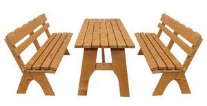 DEGAMO Gartenset Sitzgruppe Gartengarnitur FREITAL  XXL 3-teilig 200cm, Holz Kiefer imprägniert