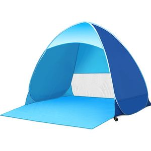 Pop up Strandmuschel in Blau, Wurfzelt, Strandzelt, Sonnenschutz Automatik Zelt, UV-Schutz 50+