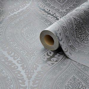 Wandtapete Kismet Damask Glitter silber