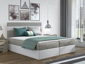 Mirjan24 Boxspringbett Modena, Stilvoll Polsterbett, Bett mit zwei Bettkästen, Schlafzimmer (Farbe: Lawa 05 + Soft 017, Größe: 160x200 cm)