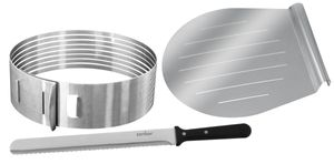 Zenker Tortenboden-Schneidhilfe Ø26 / 28 cm PATISSERIE, Torten-Set mit Tortenmesser & Tortenhebeboden, Torten-Zubehör aus Edelstahl (Farbe: Silber), Menge: 1 x 3er-Set