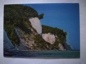3 D Ansichtskarte Insel Rügen, Kreidefelsen, Postkarte Wackelkarte Hologrammkarte, Strand Meer