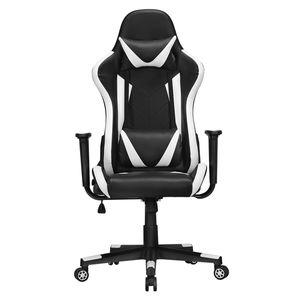 Yaheetech Gaming Stuhl Bürostuhl Kunstleder Drehstuhl Racingstuhl Computerstuhl Hoch Rücken Ergonomisches Design mit Kopfstütze und Lendenkissen Weiß