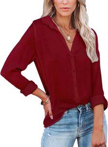 ASKSA Damen Langarmshirts Button Down V-Ausschnitt Einfarbig Revers Ausschnitt Blusen,Weinrot,S