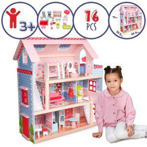 Infantastic® XXL Puppenhaus aus Holz mit LED - 3 Spielebenen, Möbeln/Zubehör, für 13cm große Puppen - Puppenvilla, Dollhouse, Kinder, Spielzeug, für Kinderzimmer und Schlafzimmer, für Mädchen und Jungen