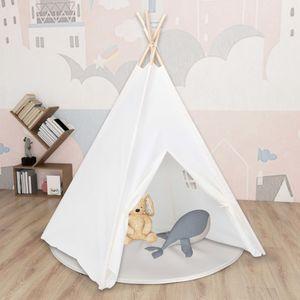 SIRUITON Kinder Tipi-Zelt mit Tasche Pfirsichhaut Weiß 120x120x150 cm