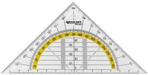 WESTCOTT Geodreieck Hypotenuse: 140 mm transparent