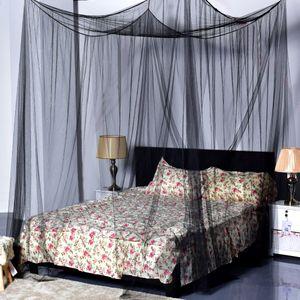 Sunnyme Moskitonetz Doppelbett Betthimmel Mückennetz 190x210x240cm Insektennetz mit 4 Aufhängepunkten Schwarz