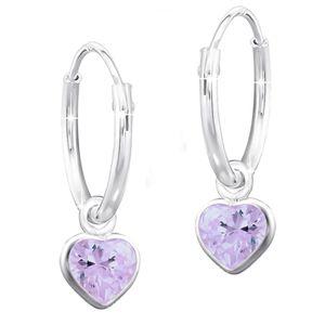 Creolen 925 Echt Silber für Mädchen Kinder Herz Lila Zirkonia  Ohrringe  K551o