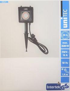 UNITEC Erdspieß mit Doppelsteckdose und mechanisch Zeitschaltuhr Steckdosen