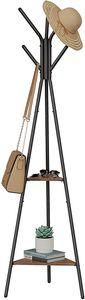 VASAGLE Garderobenständer mit 2 Ablagen in Baumform Kleiderständer freistehende Garderobe haselnussbraun-schwarz RCR016B01