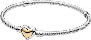 Pandora Moments Armband 599380C00 Domed Golden Heart Clasp Silber 925 Gold 14 Karat 20