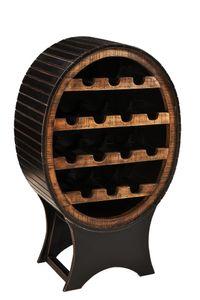 SIT Möbel Weinregal aus Mango-Holz | Ablage für 14 Flaschen | schwarz mit honigfarbig abgesetzt | B 60 x T 40 x H 95 cm | 05837-11 | Serie CORSICA