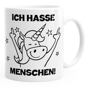 Einhorn Spruch - Ich hasse Menschen Kaffee-Tasse Trend Geschenk Kollegin MoonWorks® weiß unisize