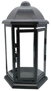 Grablaterne Stahlblech schwarz sechseckig 24 cm