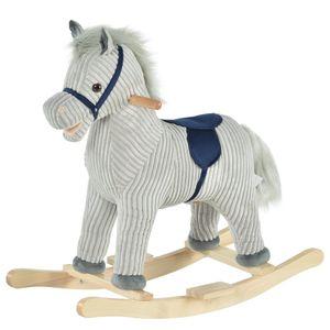 HOMCOM Kinder Schaukelpferd Baby Schaukeltier Pferd mit Tiergeräusche Spielzeug Haltegriffe für 36-72 Monate Plüsch Grau 73 x 35 x 64 cm