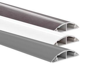 TV Kabelkanal 0,5 m Kabelleiste Wandkanal Kabelschacht Leitungskanal Weiß Silber Titan, Farbe:silber matt, Befestigung:selbstklebend