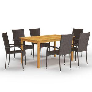 Gartenmöbel Essgruppe 6 Personen ,7-TLG. Terrassenmöbel Balkonset Sitzgruppe: Tisch mit 6 Stühle, Braun❀2322