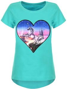 KMISSO Mädchen T-Shirt mit Herz & Einhorn als LED Lichteffekt Grün 116