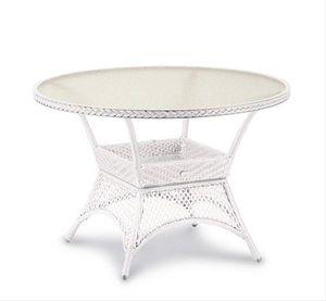 Tisch Rundtisch rund Gartentisch Geflecht Kunstfasergeflecht, Farbe: Beige