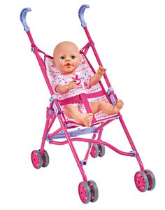 Simba Puppenbuggy - faltbarer Puppen Buggy in pink