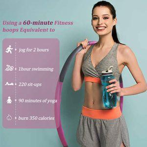 Hula Hoop-Serie zur Gewichtsreduktion,1kg Reifen mit Schaumstoff Gewichten beschwerter Hula-Hoop-Reifen für Fitness (rosa/grau)