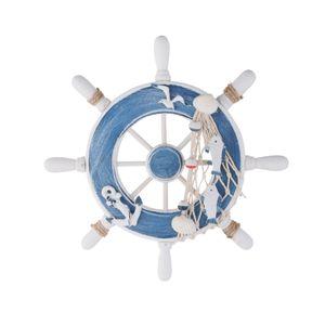 9 inch Strand Holzboot Schiff Lenkrad Maritime Anhänge Fischernetz Wanddekor Rudder Ornament Haken deko Farbe 5 Vintage / Retro