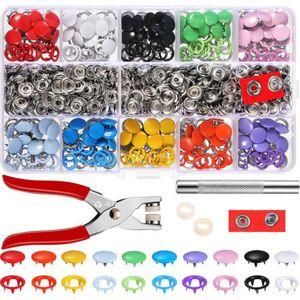 200 SET Druckknopf Zange Druckknöpfe Nähfrei Buttons Werkzeug 10 Farben Ring