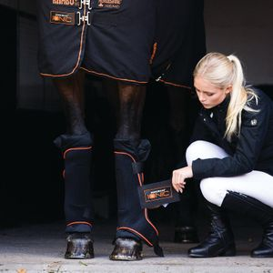 Horseware Rambo Ionic Stable Boots Pair- Black&Orange, Größe:Warmblut (L)