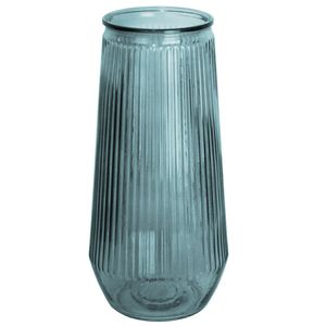 Glasvase hoch Ø14x30cm geriffelt, transparent in 4 Farben, Farbe:Blau